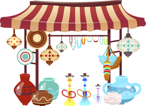 Eastern market tent with handcrafted souvenirs Illustration
