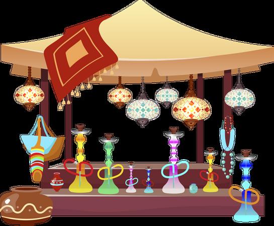 Eastern market tent with hookahs Illustration
