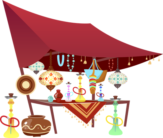 Eastern market tent with souvenirs Illustration