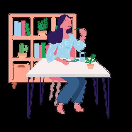 Eating Breakfast, Lunch and Dinner Illustration