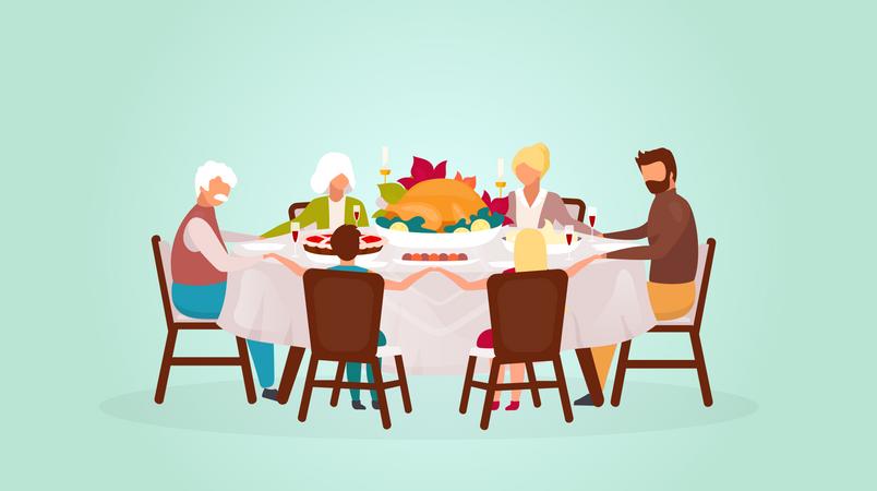 Eating festive meal together Illustration