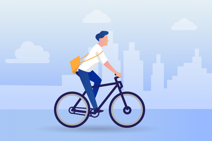 Eco friendly businessman going for work on cycle Illustration