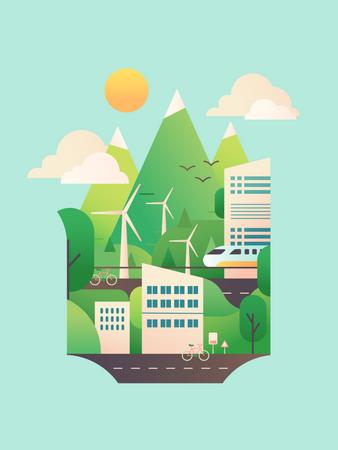 Eco friendly city Illustration