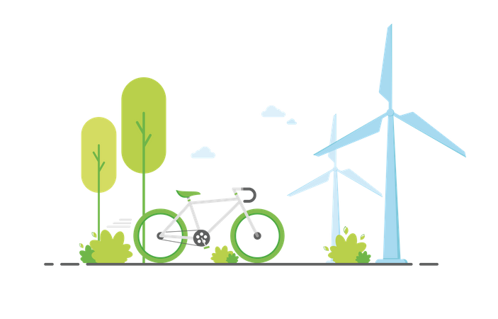 Eco friendly ride Illustration