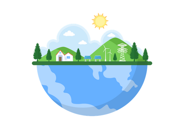 Ecological Sustainable Energy Illustration