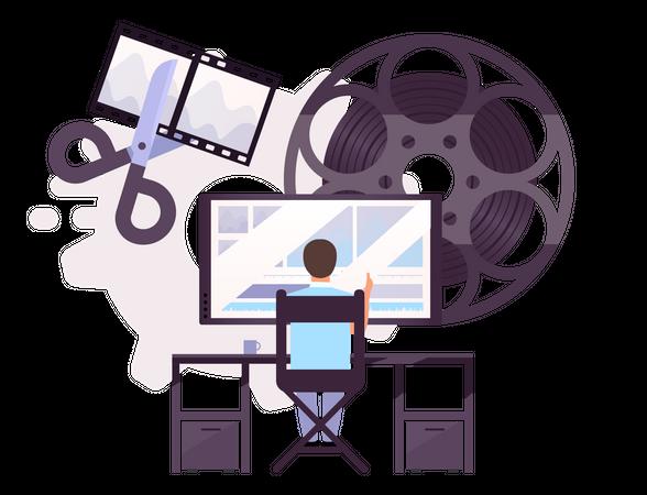 Editor doing video editing Illustration