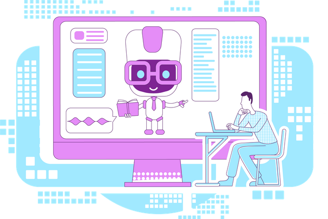 Education assistant bot Illustration
