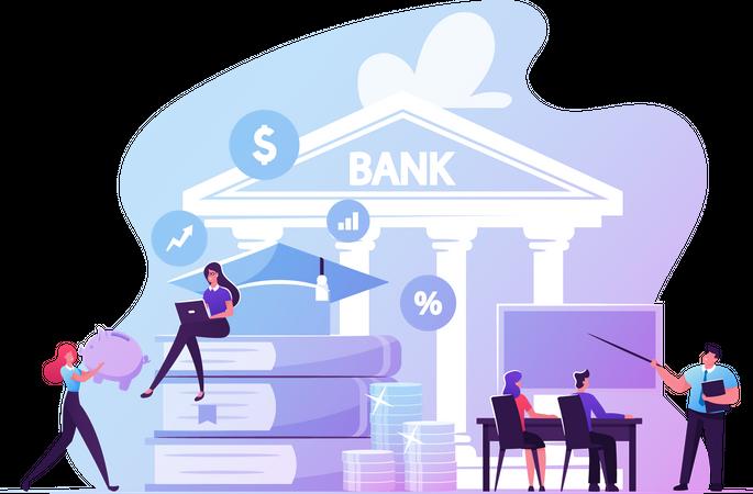 Educational Loan and Scholarship Credit Illustration