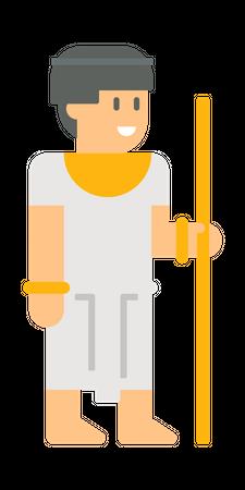 Egyptian Man holding stick Illustration