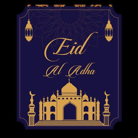 Eid Al Adha greeting card or Eid Mubarak card Illustration