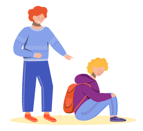 Elder brother laughing on small brother Illustration