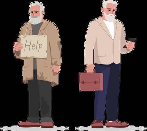 Elder businessman with jobless person Illustration