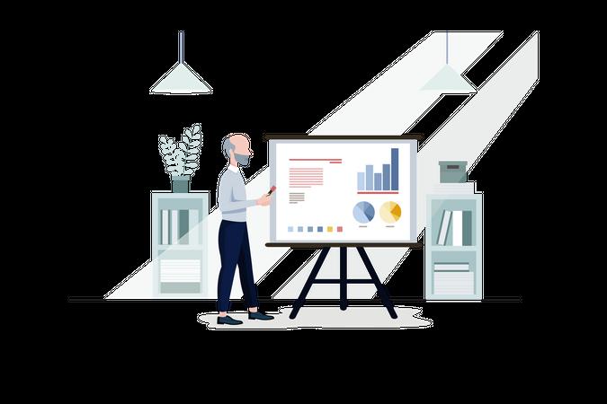 Elderly businessman checking growth report Illustration