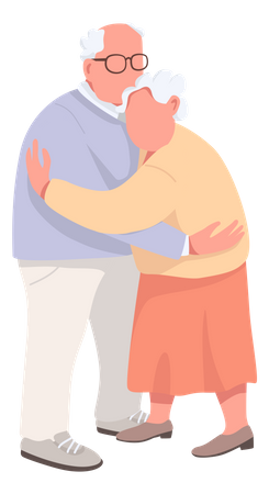 Elderly couple hugging Illustration
