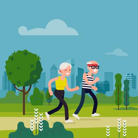 Elderly couple running in city park Illustration