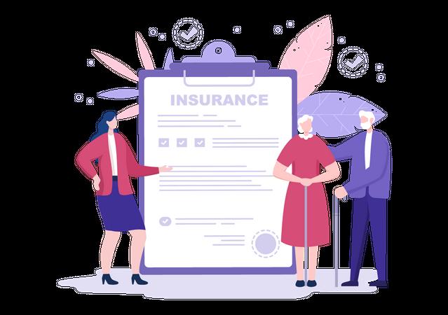 Elderly Insurance cover Illustration