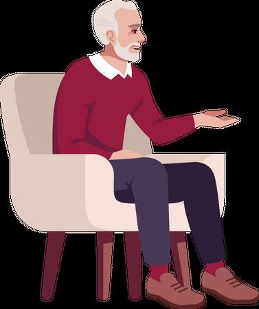 Elderly man in armchair Illustration