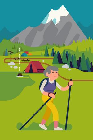 Elderly woman hiking or trekking in mountain Illustration
