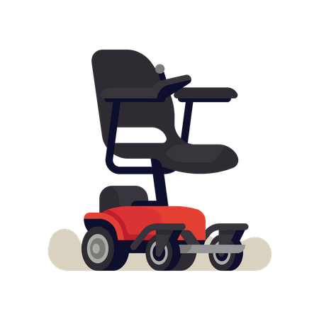 Electric wheelchair or power chair with joystick controller on armrest Illustration