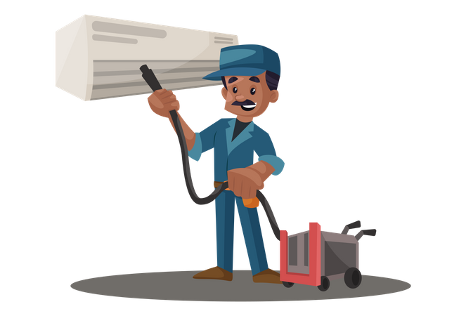 Electrician cleaning ac with vacuum cleaner Illustration