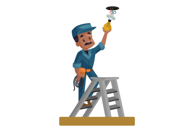 Electrician fitting bulb on the roof Illustration