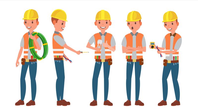 Electrician Flat Cartoon Illustration Illustration
