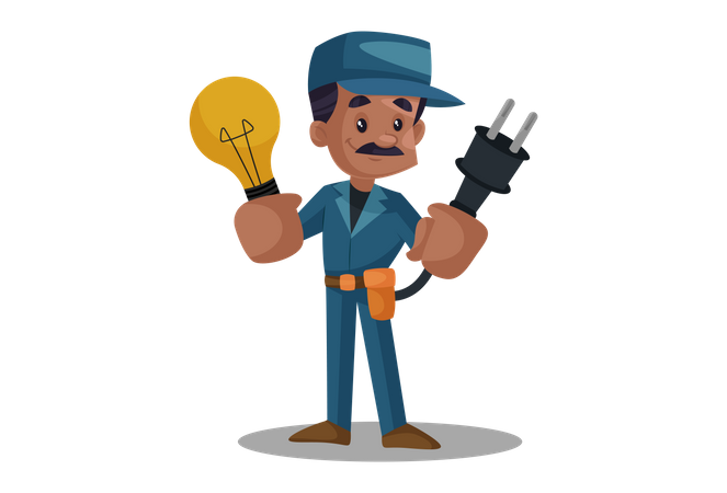 Electrician holding plug and bulb Illustration