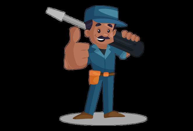 Electrician holding Screwdriver Illustration