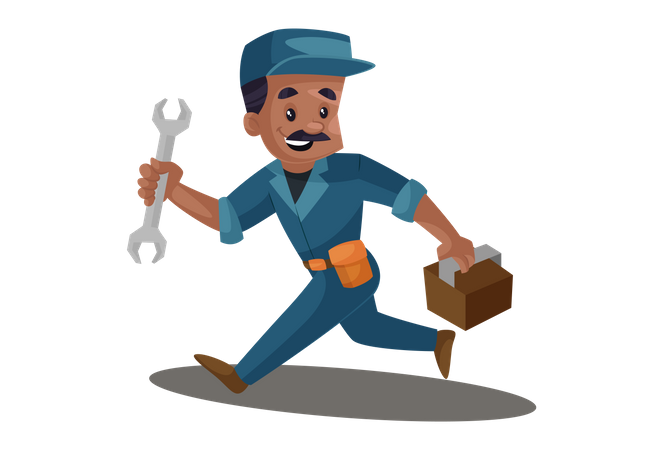 Electrician in hurry with tool box and wrench for repair service Illustration