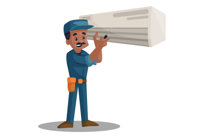Electrician repairing ac with screwdriver Illustration