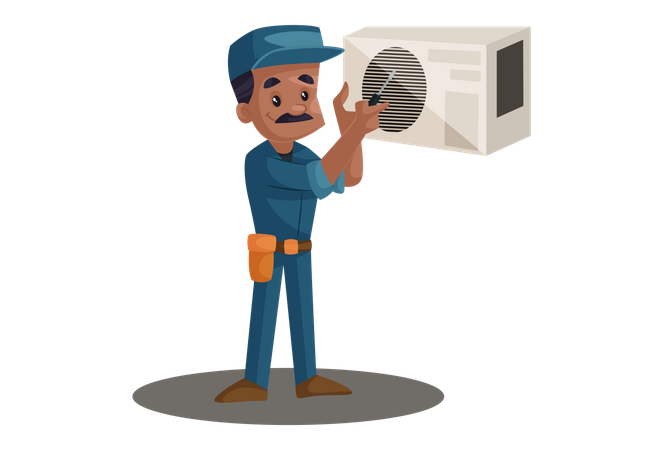 Electrician repairing Cooler with screwdriver Illustration