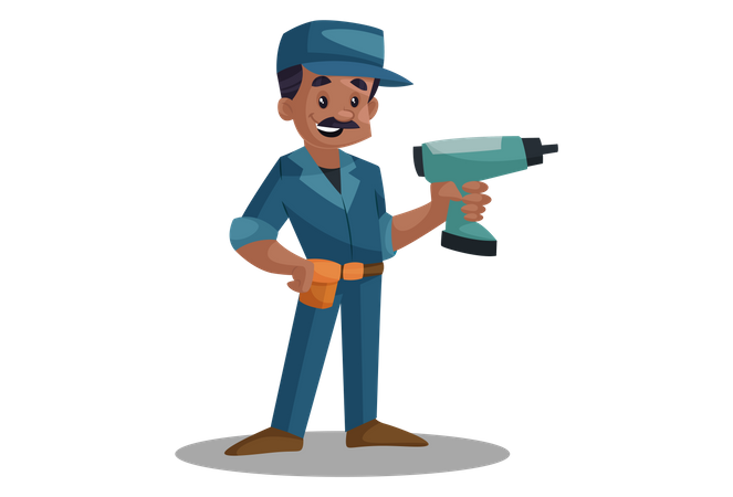 Electrician with drilling machine Illustration