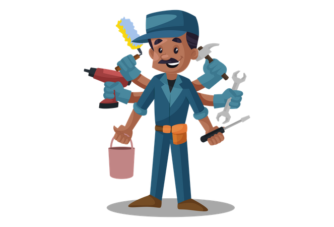 Electrician with multi hands holding tools Illustration