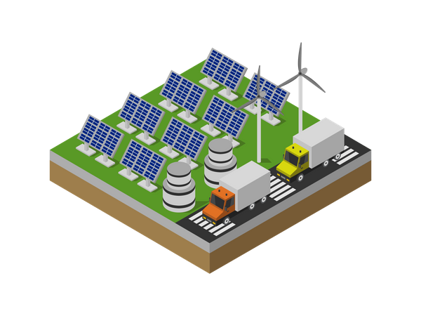 Electricity production using solar panels and wind generator Illustration