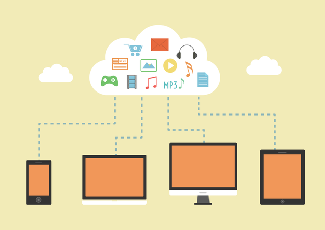 Electronic Device Can Download File And Another Entertainment From Cloud Server Illustration