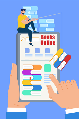 Electronic Library and Online Reading Illustration