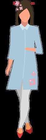 Elegant japanese girl Illustration