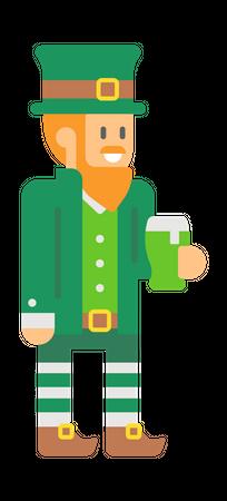Elf holding beer Illustration