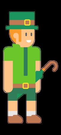 Elf with green Umbrella Illustration
