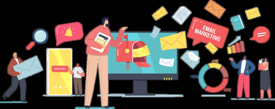 Email Digital Marketing Illustration