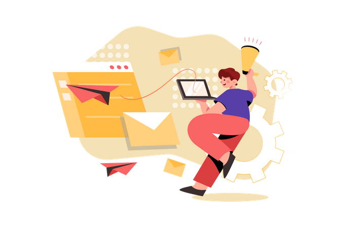 Email Marketing Campaign Illustration