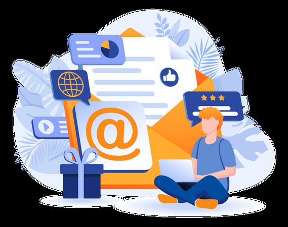 Email Marketing Scene Illustration