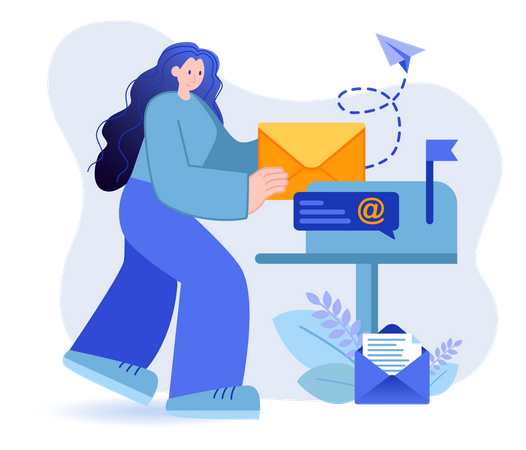 Email Marketing Through Newsletter Illustration