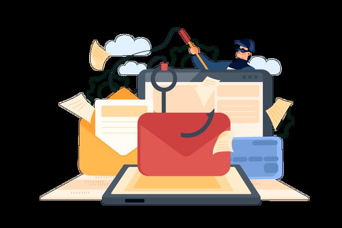 Email phishing Illustration