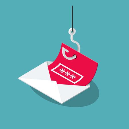Email phishing attack symbol Illustration