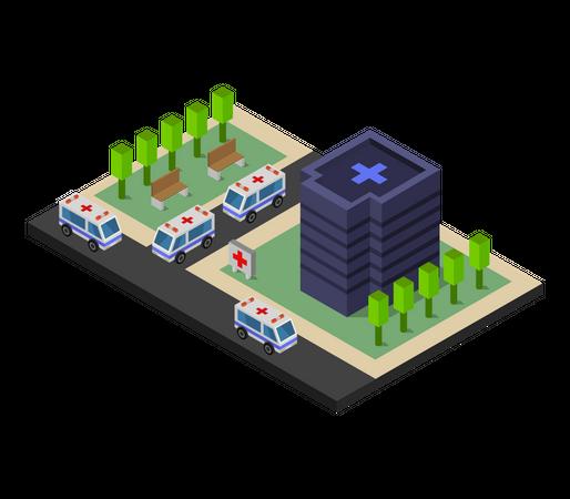 Emergency facility in hospital Illustration