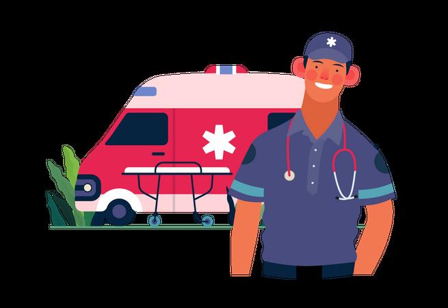 Emergency medical support Illustration