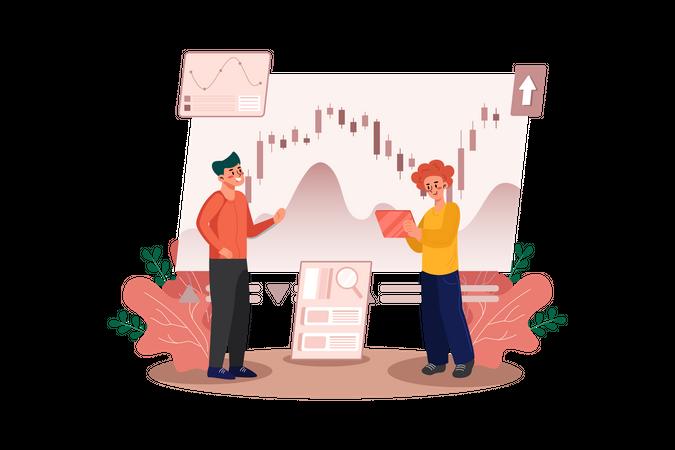 Employee analyzing business stats Illustration