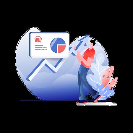 Employee analyzing marketing growth Illustration