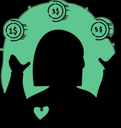 Employee analyzing profit Illustration
